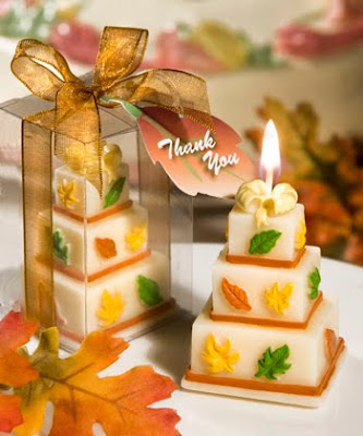 orange wedding cake candles pict