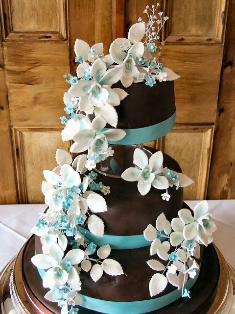 Chocolate And Turquoise Wedding Cakes Decoration