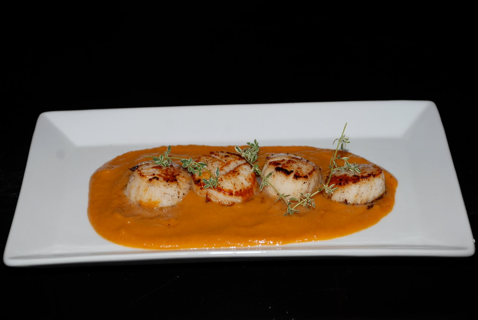 Tomatoes on the Vine: Pan- Seared Scallops with Carrot-Ginger Sauce