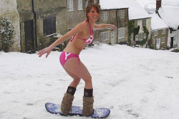 Bikini skiing pictures