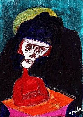 ACEO, painting, Art School, Orange, Blue, Acrylic ink, india ink, Art, Dreams
