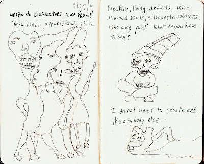 sketchbook, pen, pencil, characters