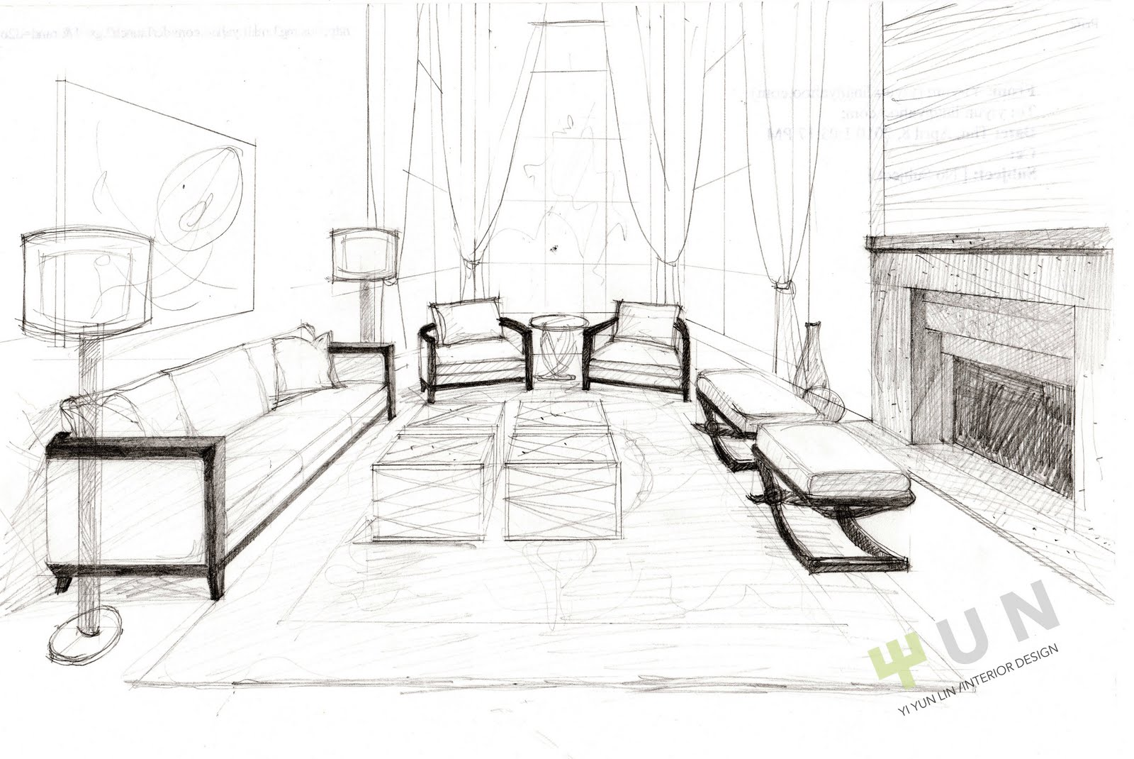design sketch for the formal living room
