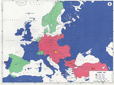 world war 1 map europe 1914. and enemies in World War I
