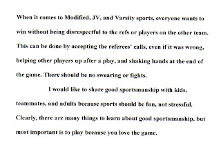 essay on good sportsmanship Kyle hunter, marietta, fifth-grade winnerchildren get lessons in sportsmanship from athletes on tv however, a lot of the time it's not good sportsmanship therefore, someone has to teach them what good sportsmanship really is - playing by the rules, respecting your opponents and the officials and putting hard work over winninggood.