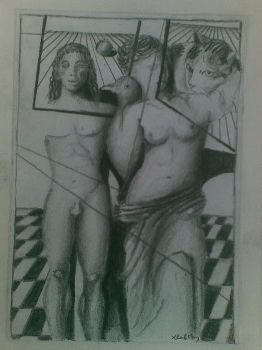 Αφροδιτη της Μηλου [ Venus of Milos ] / and Αρχαι'κος Κουρος [ in Cat 's Looking ] paintings
