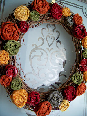 Autumn Rosette Flower Wreath Tutorial by Chatty Chickadee