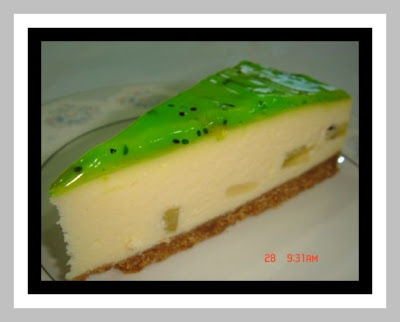 kiwi cheesecake with biscuit as base, kiwi jam as topping and kiwi ...