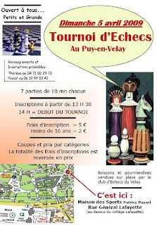 L'affiche du tournoi d'échecs spécial jeunes au Puy
