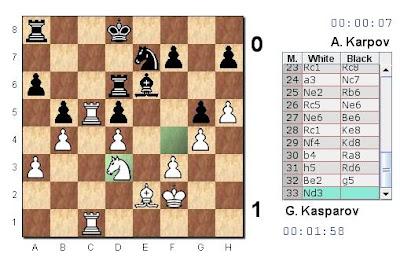 Partie 4 : Kasparov l'emporte et mène 3-1