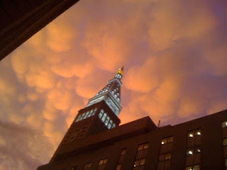 Mammatus clouds over New York City