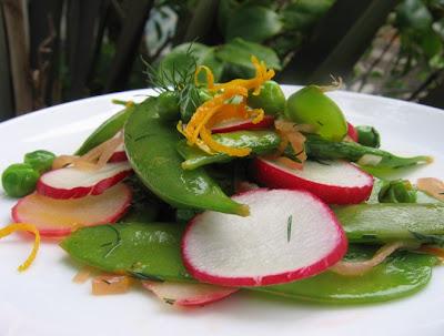 Warm Three Pea and Radish Salad
