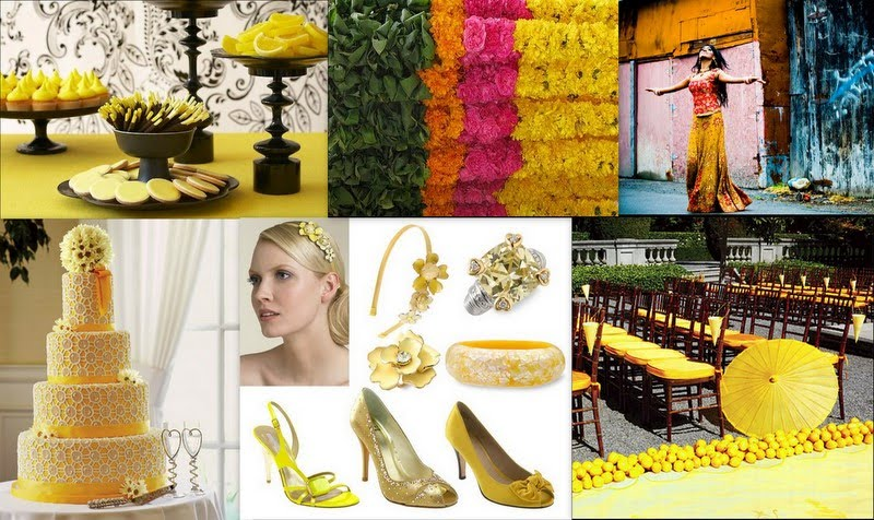 For Indian weddings combine soft cheery yellow with bold colors like green