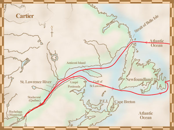 Jacques Cartier Map Route