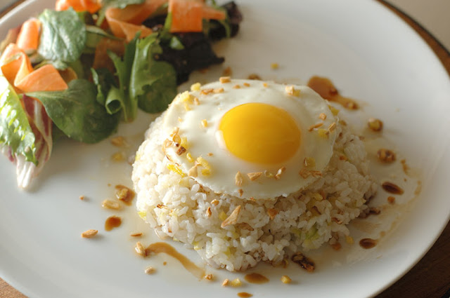 Big payoff for little effort - ginger fried rice with leeks and an egg