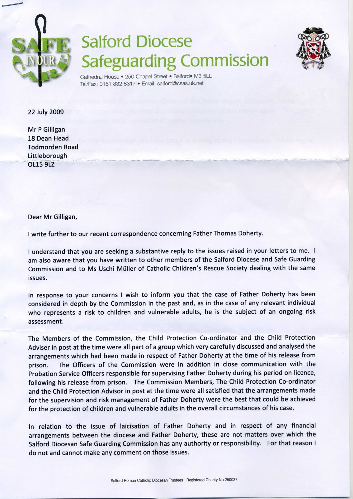 Concerned About Abuse In The Diocese Of Salford Letter To Michael