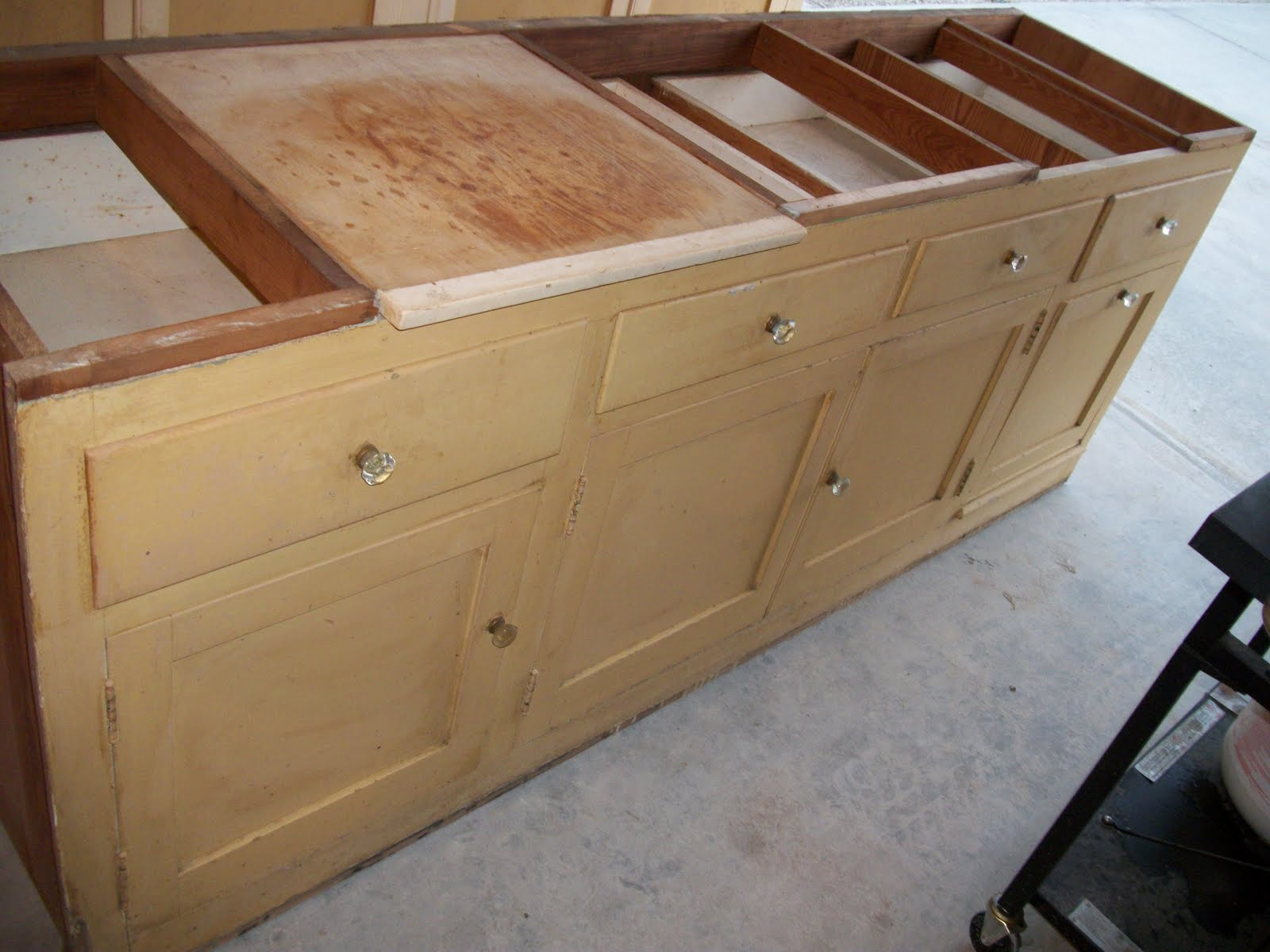 The Top Has A Bead Board Backing Inside And Old Crystal Knobs. The Base  Holds Two Cutting Boards U0026 Has A Potato Cabinet.