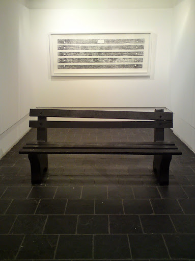 Benchmark (print on cotton paper) 2008, 200 x 60cm and Sit Here and Think Which Way (bench) 2008