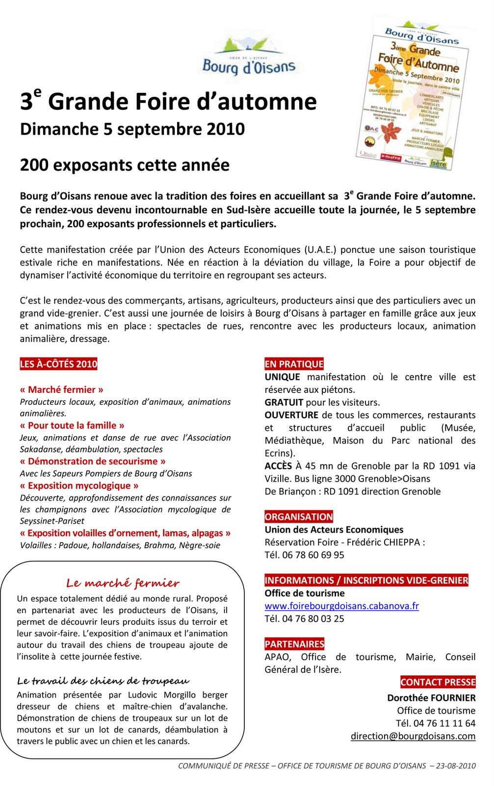 News de l 39 office de tourisme bourg d 39 oisans septembre 2010 - Bourg d oisans office tourisme ...
