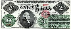 First $2 bill issued in 1862 as a Legal Tender Note