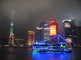 Shanghai Night Skyline from River Boat Cruise- Shanghai