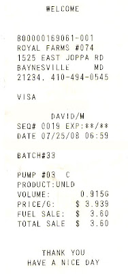 gas receipts