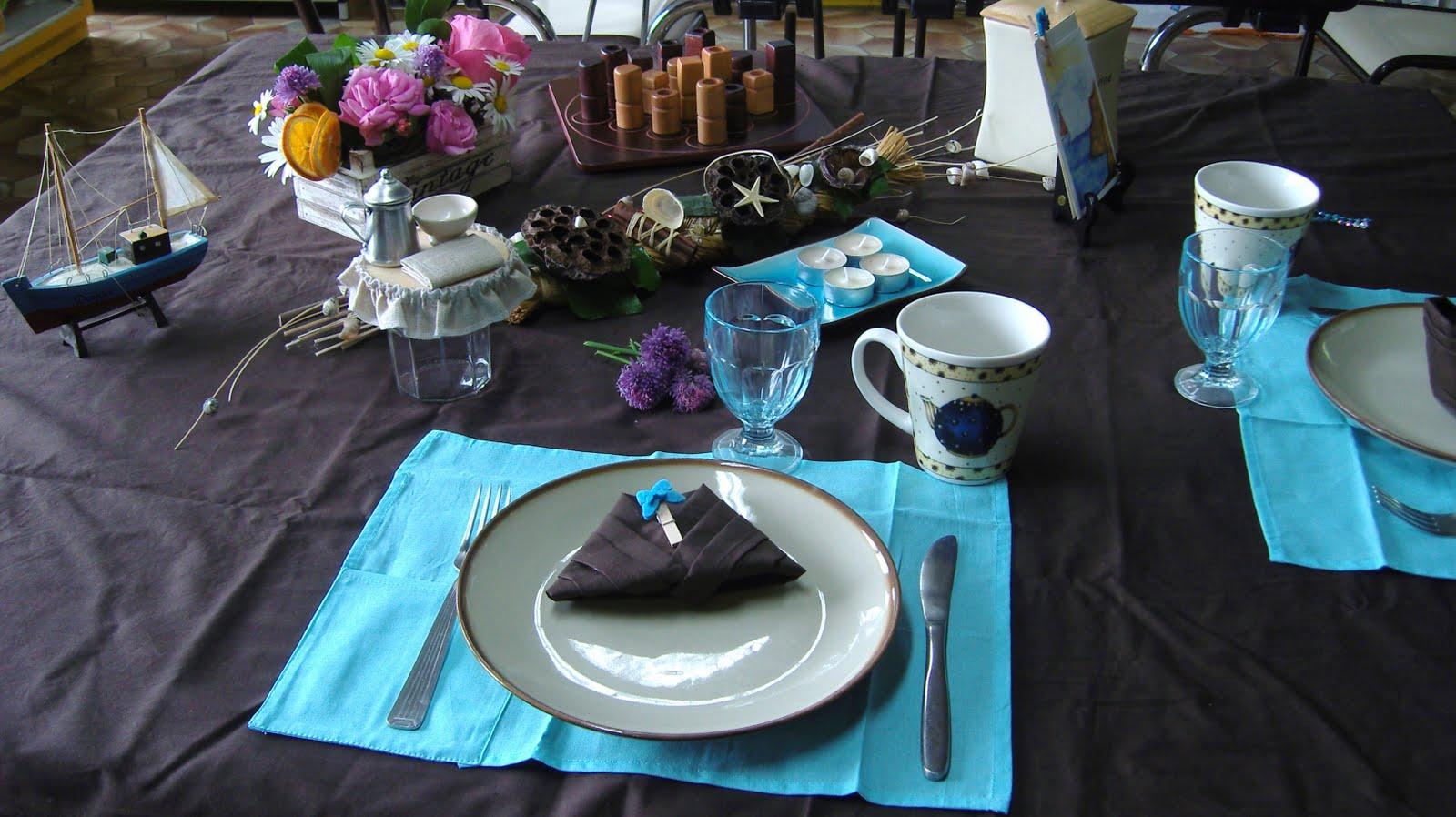 Dans la maison de s verine d co de table turquoise - Decoration de la table ...