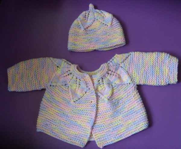 Knit Leaf Pattern Baby Sweater : Revelations of a Delusional Knitter: Focused Knitting Update