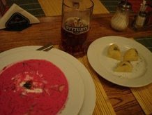 Typical Lithuanian beet soup