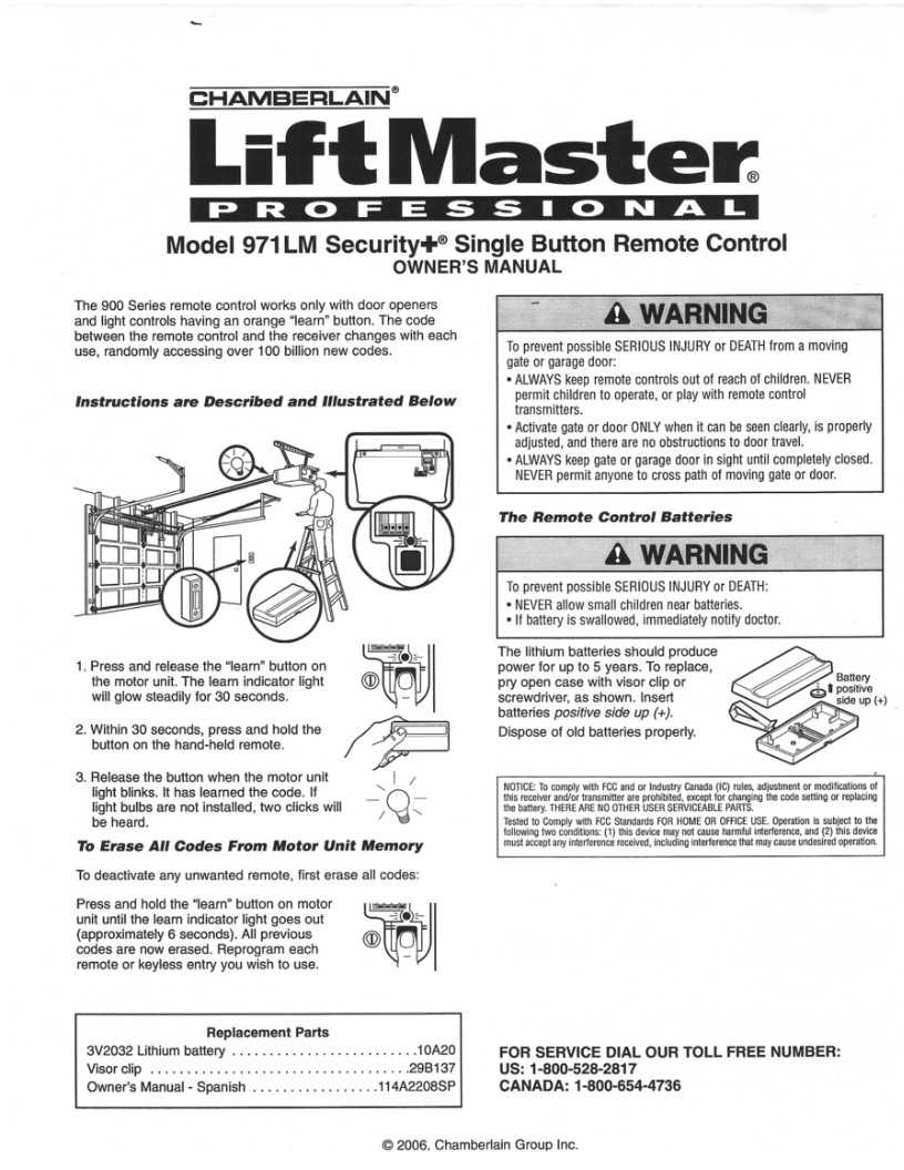 Liftmaster Remotes Instructions 971lm Liftmaster Remote