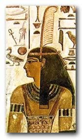 Goddess Maat, represented with a feather on her head