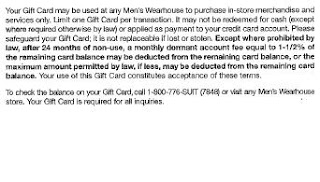 Men's Wearhouse gift card terms of use