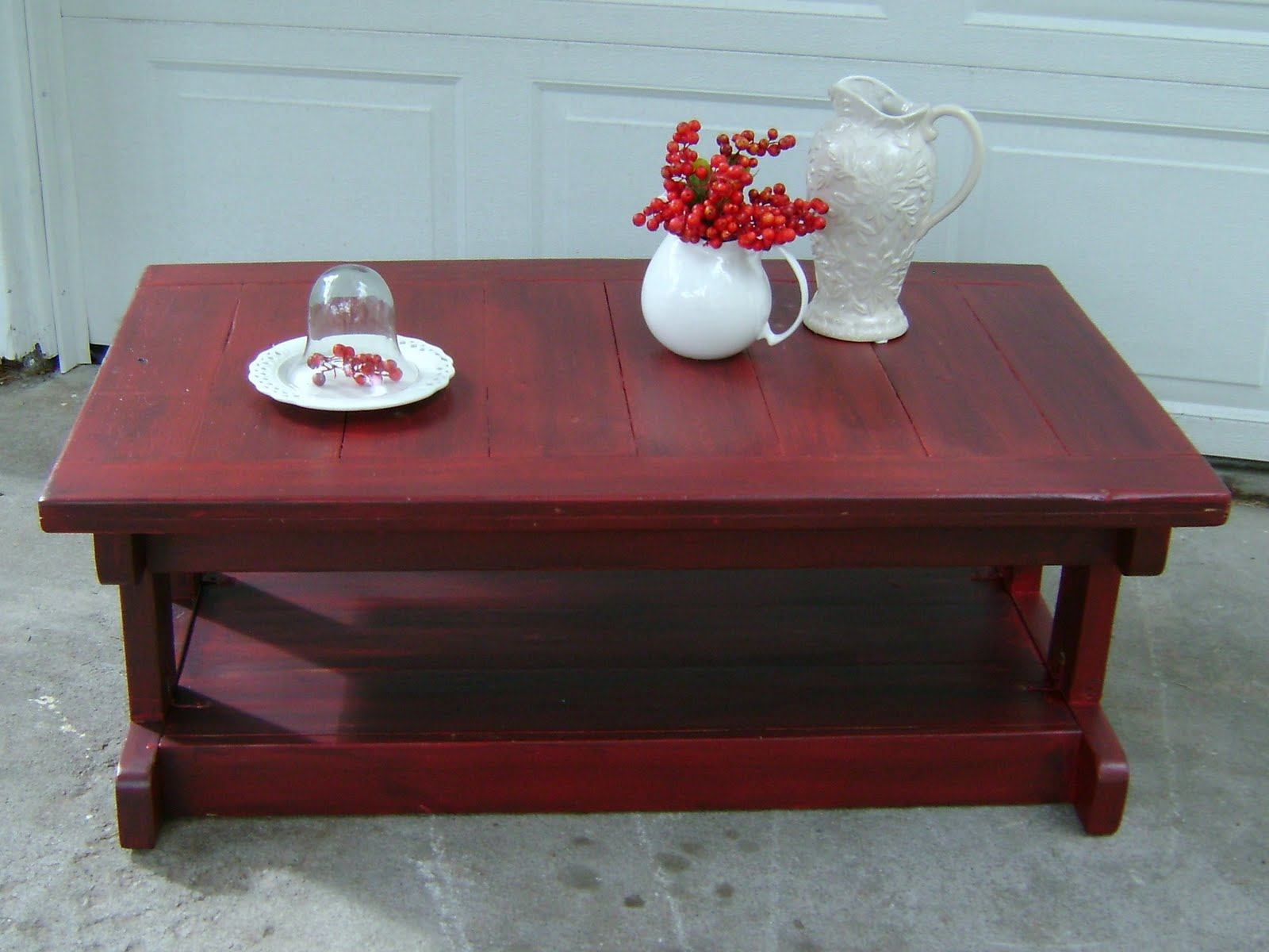 Red Distressed Coffee Table Vintage Farm Furniture