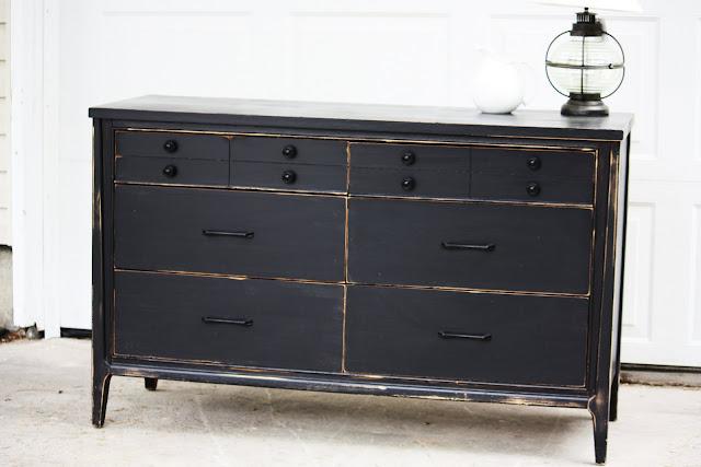 black distressed buffet dresser vintage farm furniture