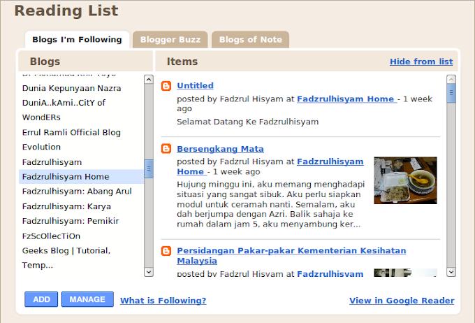 Khas untuk follower Fadzrulhisyam: Panduan membaiki feed update Fadzrulhisyam.