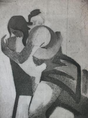 Abrazo de mujer, carboncillo de Salvador Manzanera