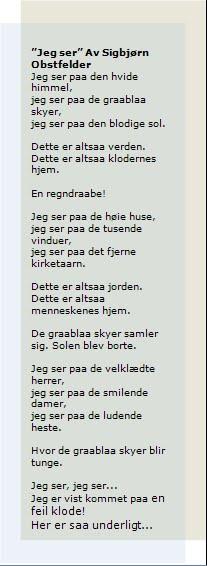 analyse av diktet jeg ser