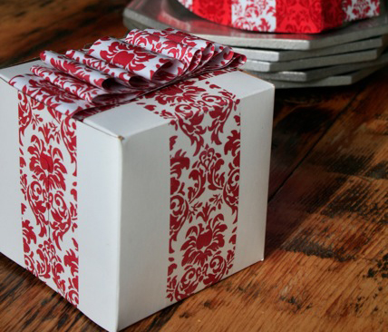 Handmade Decorative Boxes Amazing Decorative Tape In Action Red Damask Box With A Handmade Ribbon Decorating Design