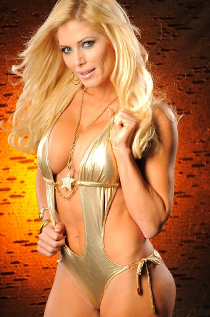WWE hot sexy Diva Torrie Wilson in Golden Bikini