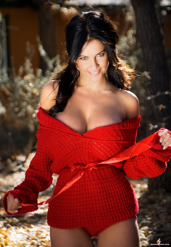 Denise Milani in  Red Sweater gallery pictures