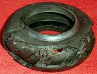 A worn rotoflex (or doughnut) coupling.