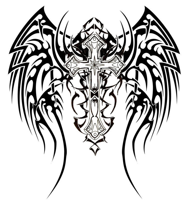 Tribal Cross with Wings Tattoo Designs