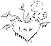 Desenho para colorir. Desenho de coração bonito. IMPRIMIR (desenho de passarinho desenhos para colorir coracao)