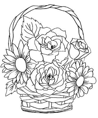 Vaso de flor para pintar. Desenhos para colorir. Risco de flor. Flor para colorir
