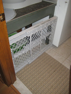 the mat and the baby gate cat door