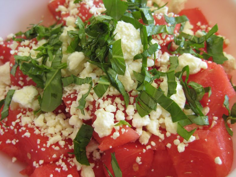 watermelon feta basil salad cubes of watermelon covered in a little ...