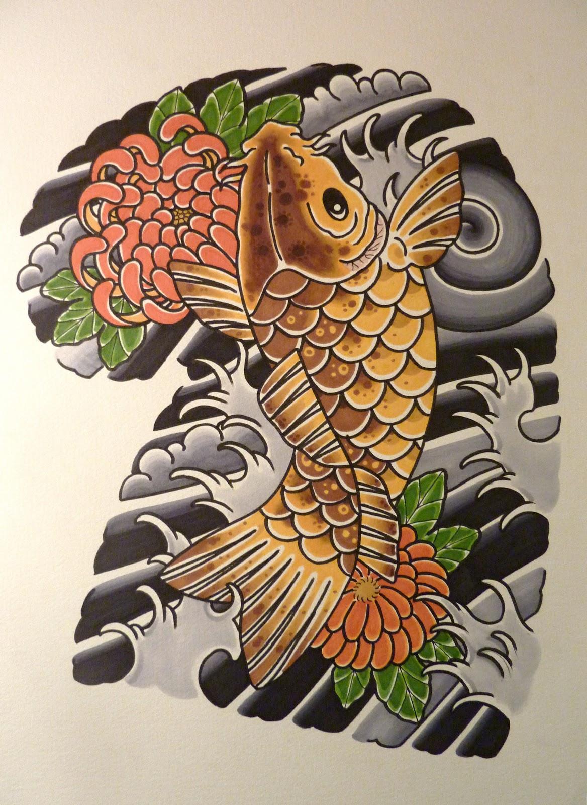 Andrea furci tattoos koi fish and chrysanthemums for Koi fish family