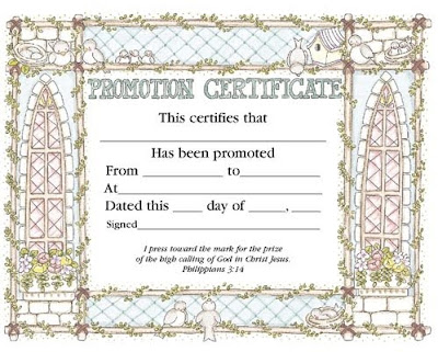 Waldrop memorial baptist church blog promotion sunday for Promotion certificate template