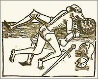 Lupo mannaro assale un cavaliere, xilografia medievale
