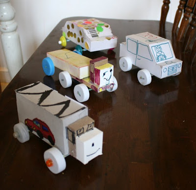 Filth wizardry toy cars and trucks from recycling for Model out of waste materials